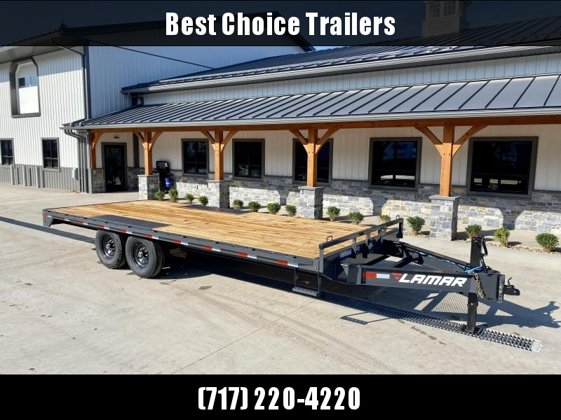 """2022 Lamar 102x20' Flatbed Deckover Trailer 14000# GVW * 8' SLIDE IN RAMPS * CHARCOAL * TOOL TRAY * HD CAST COUPLER * I-BEAM FRAME * 16"""" O.C. C/M * RUBRAIL/STAKE POCKETS/PIPE SPOOLS * CHANNEL SIDE RAIL * 12K JACK"""