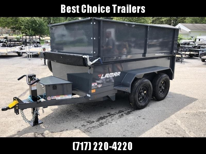2021 Lamar 5x10' High Side Dump Trailer 7000# GVW * 2' SIDE EXTENSIONS * DELUXE TARP KIT * 12K JACK UPGRADE * SPARE TIRE + MOUNT * UNDERMOUNT RAMPS * CHARCOAL * ADJUSTABLE COUPLER * RIGID RAILS * 110V CHARGER * DOUBLE CHANNEL FRAME * 10GA FLOOR