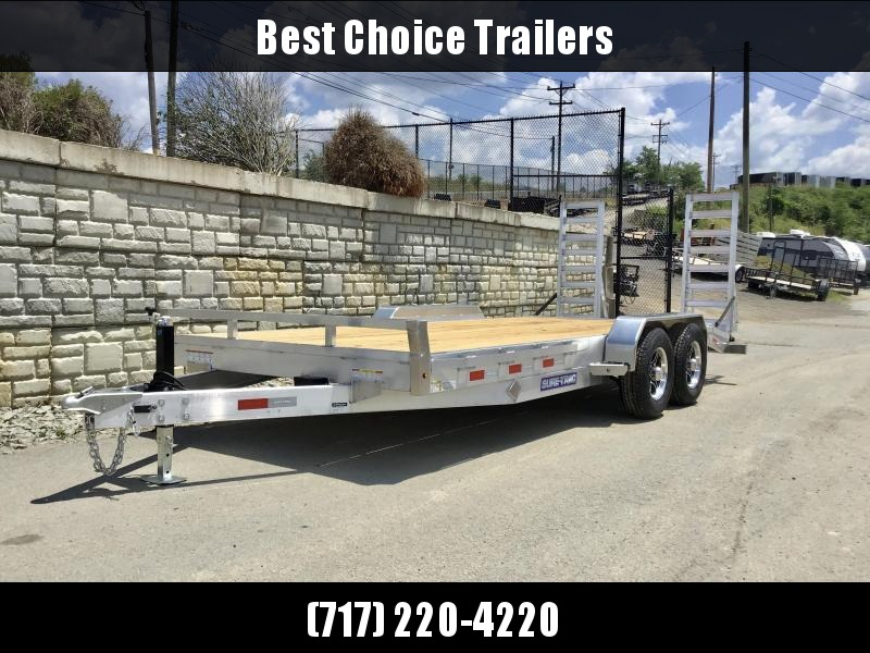 2021 Sure-Trac 7x18' Aluminum Equipment Trailer 9900# GVW * ALUMINUM STAND UP RAMPS * ALUMINUM WHEELS * SPARE TIRE MOUNT * STAKE POCKETS/RUBRAIL * SET BACK DROP LEG JACK * REMOVABLE FENDERS * CLEARANCE