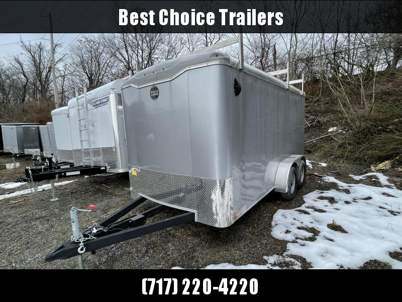 "2021 Wells Cargo 7x14' Road Force Commercial Enclosed Cargo Trailer 7000# GVW * SILVER EXTERIOR * CONTRACTOR PKG * RAMP DOOR * ROUND TOP * SCREWLESS .030 EXTERIOR * 6'6"" HEIGHT * TUBE STUDS * 1 PC ROOF * 16"" O.C. WALLS/FLOOR * RV DOOR * ARMOR GUARD * BULL"
