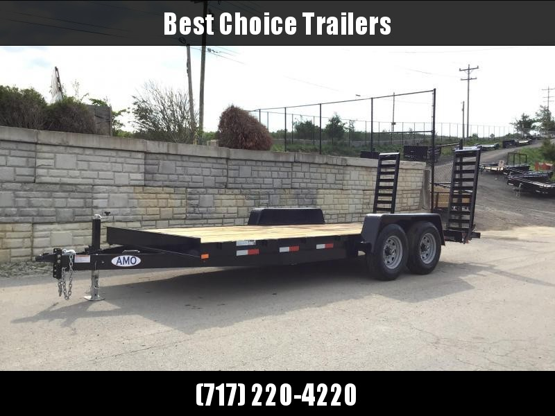 """2020 AMO 7x18' Equipment Trailer 12000# GVW * ALL LED LIGHTS * STAND UP RAMPS * BEAVERTAIL * STACKED 6"""" CHANNEL TONGUE/FRAME * REMOVABLE FENDERS"""