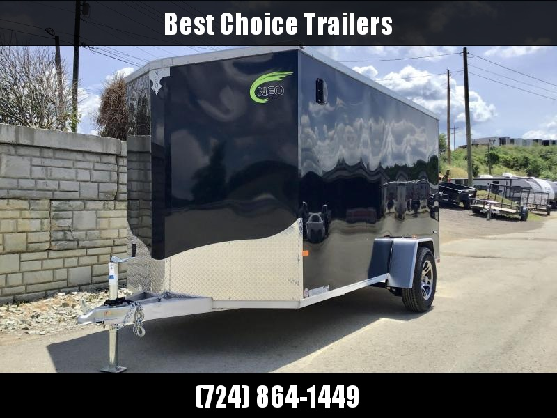 2021 Neo 6x12 NAVF Aluminum Enclosed Cargo Trailer * RAMP DOOR * BLACK * ALUMINUM WHEELS