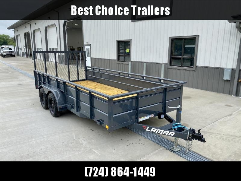 """2021 Lamar 7x16' High Side Utility Landscape Trailer 7000# GVW * ADJUSTABLE COUPLER * PIPE TOP RAIL * 24"""" SOLID METAL SIDES * 7K DROP LEG JACK * CHARCOAL * HD GATE/2X2"""" TUBE C/M + SPRING ASSIST * COLD WEATHER HARNESS * 4"""" CHANNEL TONGUE"""
