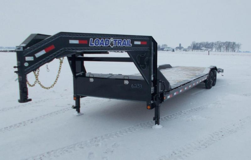 "2021 Load Trail 102x32' Gooseneck Car Hauler Trailer 14000# GVW * 102"" DECK * DRIVE OVER FENDERS * OVERLENGTH 7' SLIDE IN RAMPS * WINCH PLATE * RUBRAIL * UNDER FRAME BRIDGE * DUAL JACKS * FULL TOOLBOX * POWDER PRIMER * 2-3-2 WARRANTY"