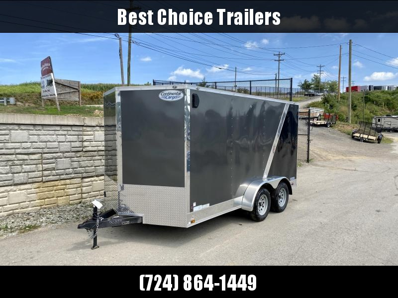 "USED 2019 Continental Cargo 7x14' Enclosed Cargo Trailer 7000# GVW * SILVER + BLACK * RAMP DOOR * V-NOSE * SEMI-SCREWLESS * 6'6"" HEIGHT * E-TRACK * PLYWOOD"