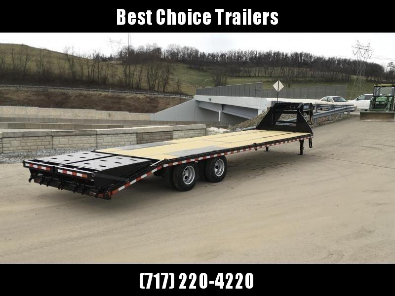 "2020 Sure-Trac 102x32' Gooseneck Beavertail Deckover Trailer 22500# GVW * FULL WIDTH RAMPS (STAND UP OR FLIPOVER) * DEXTER AXLES * 12"" I-BEAM * PIERCED FRAME * RUBRAIL/STAKE POCKETS/PIPE SPOOLS/10 D-RINGS * CROSS TRAC BRACING * HD BEAVERTAIL"