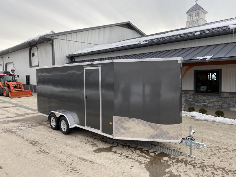 "2021 Neo 7x22' NASF Aluminum Enclosed All-Sport Trailer 7000# GVW * 7' HEIGHT UTV PKG * CHARCOAL EXTERIOR * FRONT/REAR NXP RAMP * VINYL WALLS * SPORT TIE DOWN SYSTEM * 16"" O.C. FLOOR * PRO STAB JACKS * UPPER CABINET * ALUMINUM WHEELS * SCREWLESS * 1 PC RO"