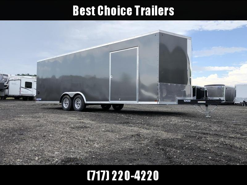 "2021 Sure-Trac 8.5x24' Pro Series Enclosed Car Hauler Trailer 9900# GVW * TORSION * CHARCOAL EXTERIOR * V-NOSE * RAMP * 5200# AXLES * .030 SCREWLESS EXTERIOR * ALUMINUM WHEELS * 1 PC ROOF * 6"" FRAME * 16"" O.C. C/M * PLYWOOD * TUBE STUDS * 48"" RV DOOR * 7K"