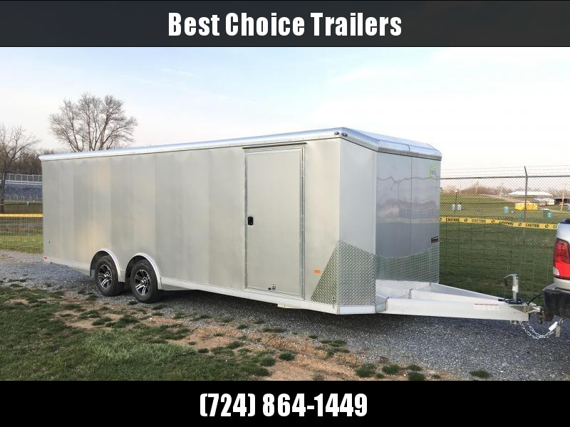 2021 NEO 8.5x24' NACX Aluminum Enclosed Car Hauler Trailer 9990# GVW * SILVER EXTERIOR * FULL ESCAPE DOOR * 5200# TORSION * BULLNOSE * SPREAD AXLE * DRT REAR SPOILER * NXP RAMP * ROUND TOP * HD FRAME * ALUMINUM WHEELS * RV DOOR * 1 PC ROOF
