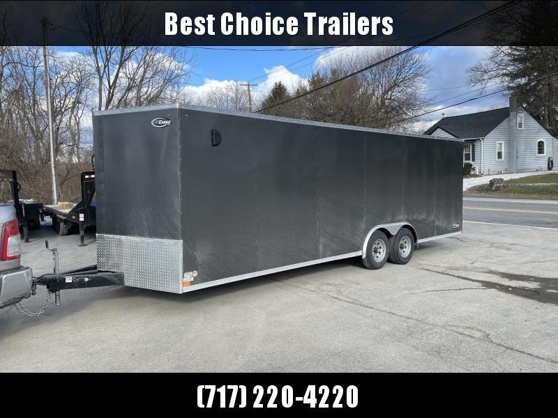"2021 ITI Cargo 8.5x24 Enclosed Car Hauler Trailer 9900# GVW * CHARCOAL EXTERIOR * .030 SEMI-SCREWLESS * RV DOOR * 1 PC ROOF * 3/8"" WALLS * 3/4"" FLOOR * PLYWOOD * TRIPLE TUBE TONGUE * 6'6"" INTERIOR * 24"" STONEGUARD * HIGH GLOSS PAINTED FRAME * D-RINGS"