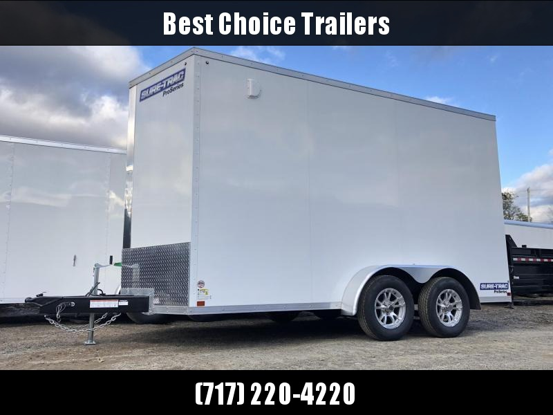 "2021 Sure-Trac 7x14' Pro Series Enclosed Cargo Trailer 7000# GVW * WHITE EXTERIOR * V-NOSE * RAMP * .030 SCREWLESS EXTERIOR * ALUMINUM WHEELS * 1 PC ROOF * 6'6"" HEIGHT * 6"" FRAME * 16"" O.C. C/M * PLYWOOD * TUBE STUDS"