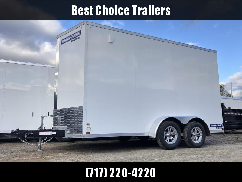 """2021 Sure-Trac 7x14' Pro Series Enclosed Cargo Trailer 7000# GVW * WHITE EXTERIOR * V-NOSE * RAMP * .030 SCREWLESS EXTERIOR * ALUMINUM WHEELS * 1 PC ROOF * 6'6"""" HEIGHT * 6"""" FRAME * 16"""" O.C. C/M * PLYWOOD * TUBE STUDS"""