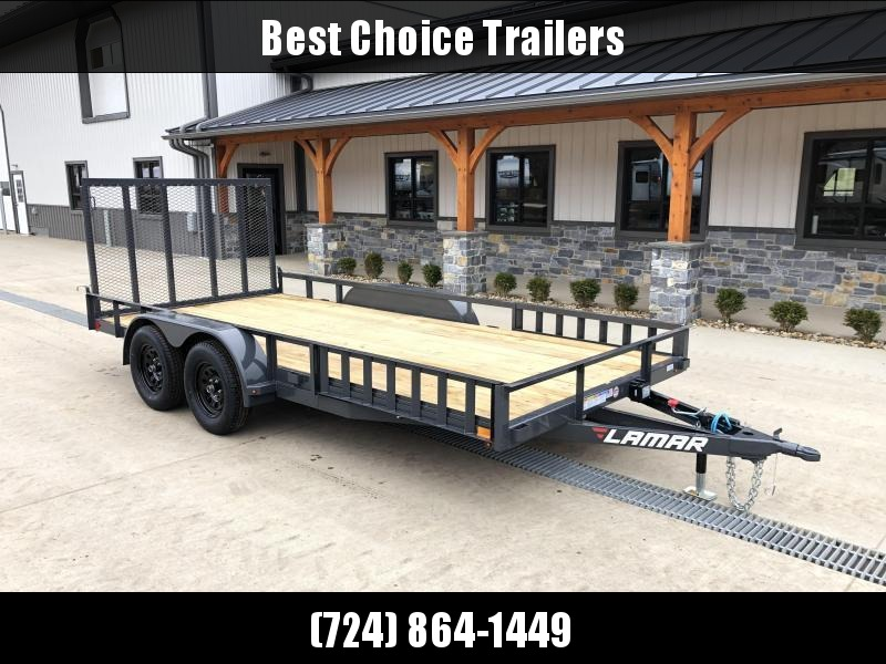"""2021 Lamar 7x18' ATV Utility Trailer 7000# GVW * CHANNEL FRAME * ATV SIDE RAMPS * CHARCOAL * DROP LEG JACK * ADJUSTABLE COUPLER * PIPE TOP RAIL * 2x2"""" TUBE GATE W/ SPRING ASSIST * COLD WEATHER HARNESS * 4"""" CHANNEL TONGUE * STAKE POCKETS * TEARDROP FENDERS"""