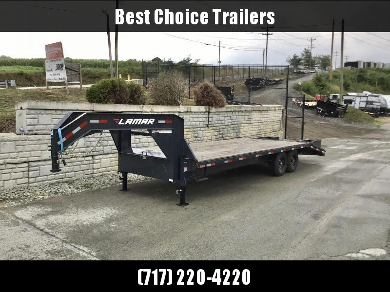 "2020 Lamar 102x20+5' HD Gooseneck Beavertail Deckover Trailer 14000# GVW * 12"" I-BEAM FRAME * FRONT TOOLBOX * DUAL JACKS * BLACK * SPARE TIRE * FLIPOVER RAMPS * CLEARANCE"