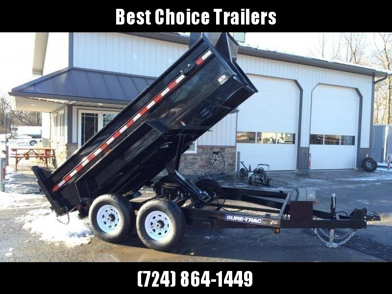 2021 Sure-Trac 7x12' Dump Trailer 12000# GVW * DELUXE TARP KIT * SCISSOR HOIST * FRONT/REAR BULKHEAD * INTEGRATED KEYWAY * 2' SIDES * UNDERBODY TOOL TRAY * ADJUSTABLE COUPLER * 110V CHARGER * UNDERMOUNT RAMPS * COMBO GATE * 7K DROP LEG JACK