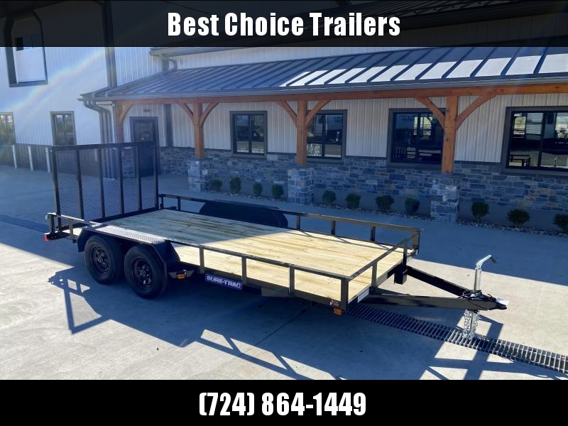 "2021 Sure-Trac 7x16' Angle Iron Utility Landscape Trailer 7000# GVW * 2X2"" TUBE GATE C/M + FOLD FLAT * TOOLESS GATE REMOVAL"