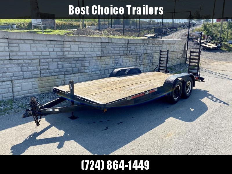 USED Top Brand 7x18' Equipment Trailer 9900# GVW * STAND UP RAMPS * ADJUSTABLE COUPLER * DROP LEG JACK * RUBRAIL/STAKE POCKETS