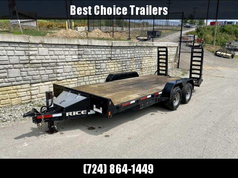 "USED 2017 Rice 7x18' Equipment Trailer 9900# GVW * STAND UP RAMPS * D-RINGS/STAKE POCKETS * TOOLBOX * ADJUSTABLE COUPLER * 12K DROP LEG JACK * 6"" CHANNEL TONGUE & FRAME"