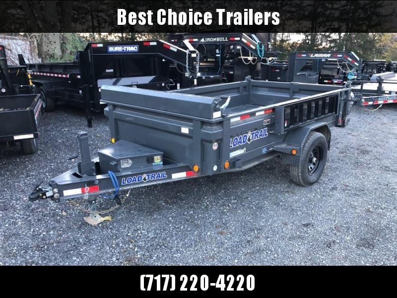"2021 Load Trail 6x10' Single Axle Dump Trailer 5000# GVW * SCISSOR HOIST * 3-WAY GATE * I-BEAM FRAME * TARP KIT * 4"" TUBE BED FRAME * 110V CHARGER * ADJUSTABLE COUPLER * 7K JACK * 10GA 2PC SIDES/FLOOR * INTEGRATED KEYWAY * DEXTER'S * 2-3-2 * POWDER PRIMER"