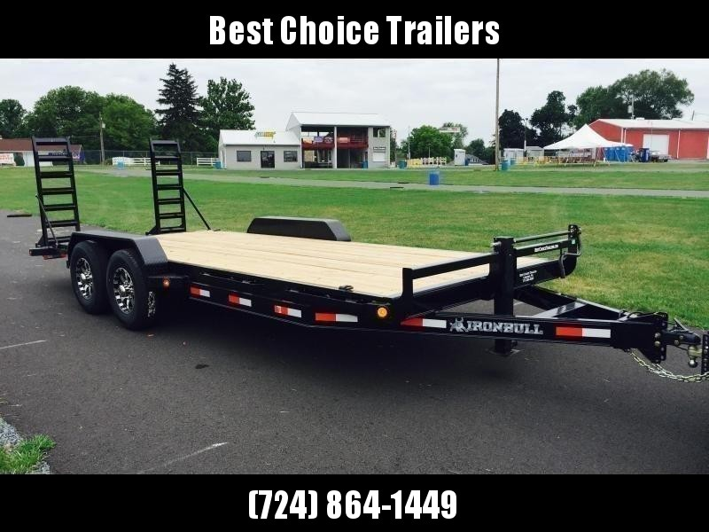 """2021 Ironbull 7x18' Equipment Trailer 14000# GVW * KNIFEEDGE RAMP W/ ADJUSTABLE SUPPORT * REMOVABLE FENDERS * 16"""" O.C. STRUCTURAL CHANNEL C/M * RUBRAIL/STAKE POCKETS/PIPE SPOOLS/D-RINGS * ADJUSTABLE CAST COUPLER * 12K JACK * DEXTER'S * CLEARANCE"""