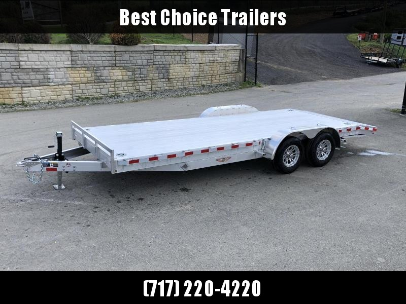 "2021 H and H 7x22' Deluxe Aluminum Car Hauler Trailer 14000# GVW * EXTRUDED ALUMINUM FLOOR * SWIVEL D-RINGS * HEAVY DUTY 8"" FRAME * DROP LEG JACK * ALUMINUM WHEELS * REMOVABLE FENDERS * CHANNEL C/M"