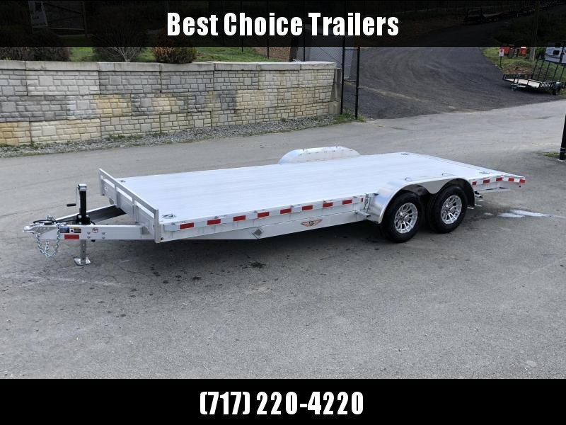 "2021 H and H 7x22' Deluxe Aluminum Car Hauler Trailer 14000# GVW * EXTRUDED ALUMINUM FLOOR * SWIVEL D-RINGS * HEAVY DUTY 8"" FRAME * DROP LEG JACK * ALUMINUM WHEELS * REMOVABLE FENDERS * CHANNEL C/M * CLEARANCE"