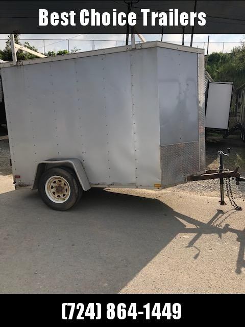 USED 2014 Lark 5x8' Enclosed Cargo Trailer 2990# GVW * SILVER * PLYWOOD WALLS AND FLOOR * BARN DOORS * V-NOSE * LADDER RACKS