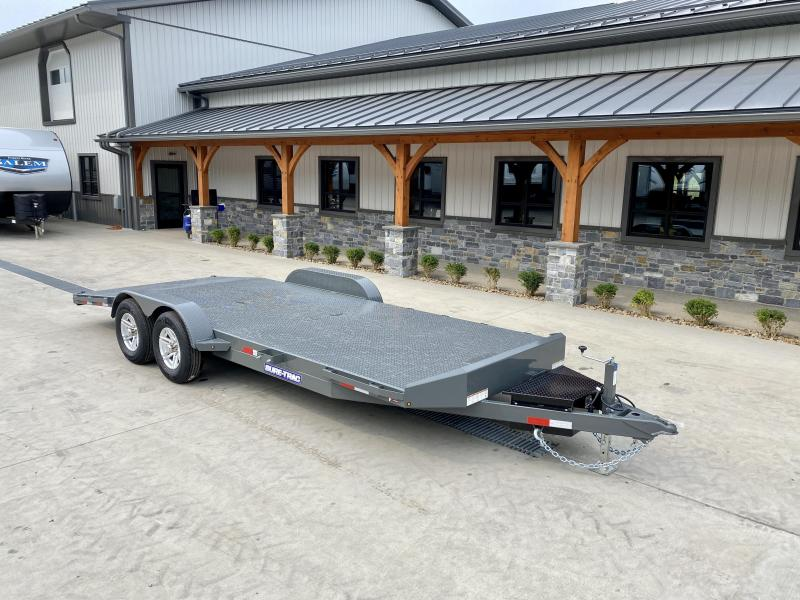 """2021 Sure-Trac 7x20' Deluxe Steel Deck Car Hauler 9900# GVW * WINCH PLATE * TOOLBOX * CHARCOAL * REMOVABLE FENDERS * 4' BEAVERTAIL * LOW LOAD ANGLE * ALUMINUM WHEELS * 5"""" TUBE TONGUE/FRAME * AIR DAM * RUBRAIL/STAKE POCKETS/D-RINGS * FULL SEAMS WELDS * REA"""