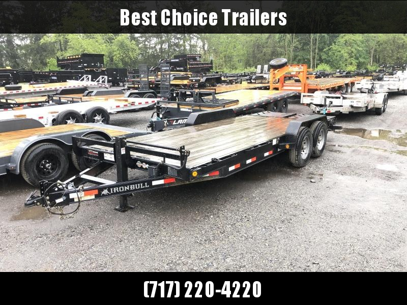 """USED 2017 Ironbull 7x20' Equipment Trailer 14000# GVW * FULL WIDTH RAMPS * REMOVABLE FENDERS * 16"""" O.C. STRUCTURAL CHANNEL C/M * RUBRAIL/STAKE POCKETS/PIPE SPOOLS/D-RINGS * ADJUSTABLE CAST COUPLER * 12K JACK * DEXTER'S * 2-3-2 WARRANTY"""