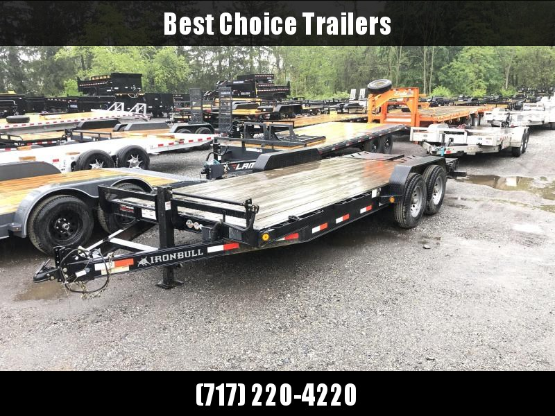 "USED 2017 Ironbull 7x20' Equipment Trailer 14000# GVW * FULL WIDTH RAMPS * REMOVABLE FENDERS * 16"" O.C. STRUCTURAL CHANNEL C/M * RUBRAIL/STAKE POCKETS/PIPE SPOOLS/D-RINGS * ADJUSTABLE CAST COUPLER * 12K JACK * DEXTER'S * 2-3-2 WARRANTY"