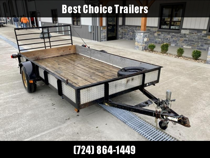 USED 2011 Constar 78x12' Angle Iron Landscape Utility Trailer 2500# GVW * STEEL SIDE * TUBE GATE * SPARE TIRE * SWIVEL JACK