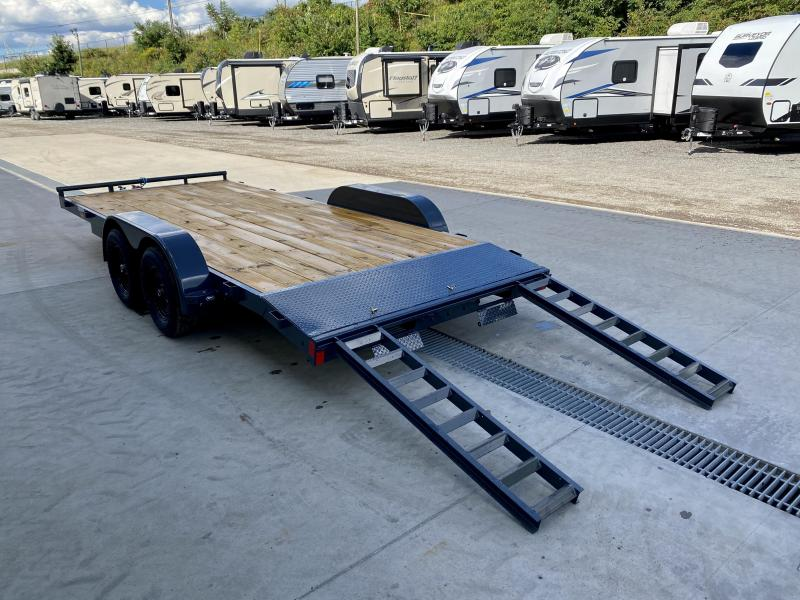 """2021 Lamar 7x18 7000# Wood Deck Car Hauler Trailer * CHARCOAL * REMOVABLE FENDERS * EXTRA STAKE POCKETS * 5"""" CHANNEL FRAME * COLD WEATHER HARNESS * REAR RAMPS"""