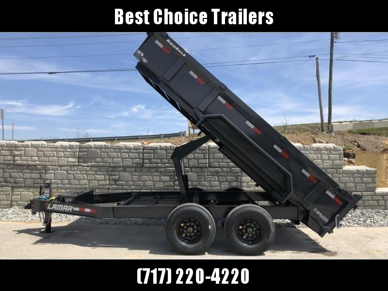 "2021 Lamar 7x12' Dump Trailer 14000# GVW * 7GA FLOOR * TARP KIT * UNDERMOUNT RAMPS * SCISSOR HOIST * 12K JACK * CHARCOAL WITH BLACK WHEELS * RIGID RAILS * HD COUPLER * NESTLED I-BEAM FRAME 28"" H * 3-WAY GATE * 12"" O.C. C/M * SPARE MOUNT * CLEARANCE"