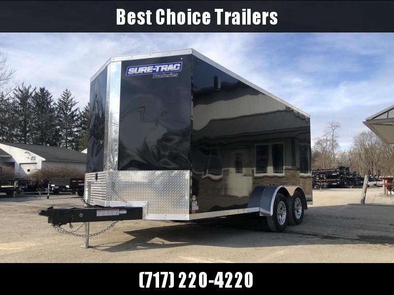 "2021 Sure-Trac 7x16' Pro Series Enclosed Cargo Trailer 7000# GVW * TORSION * BLACK EXTERIOR * V-NOSE * RAMP * .030 SCREWLESS EXTERIOR * ALUMINUM WHEELS * 1 PC ROOF * 6'6"" HEIGHT * 6"" FRAME * 16"" O.C. C/M * PLYWOOD * TUBE STUDS"