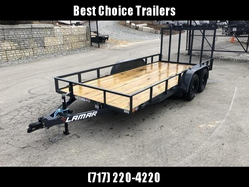 "2021 Lamar 7x16' Utility Landscape Trailer 7000# GVW * CHARCOAL * HD GATE/2X2"" TUBE C/M + SPRING ASSIST * CAST COUPLER * COLD WEATHER HARNESS * 4"" CHANNEL TONGUE * STAKE POCKETS * SWIVEL JACK * TUBE BUMPER * TEARDROP FENDERS * BULLET LED'S"