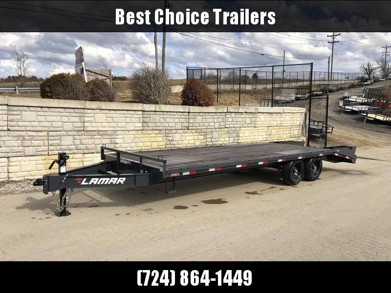 "2021 Lamar 102x24' Beavertail Deckover Trailer 14000# GVW * FLIPOVER RAMPS + SPRING ASSIST  * CHARCOAL * TOOL TRAY * HD COUPLER * I-BEAM FRAME * 16"" O.C. C/M * RUBRAIL/STAKE POCKETS/PIPE SPOOLS * CHANNEL SIDE RAIL * 4X8"" TUBE BUMPER"