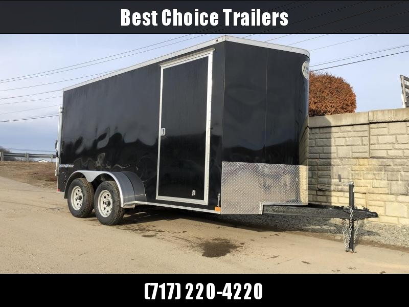 "2021 Wells Cargo 7x14' Road Force Enclosed Cargo Trailer 7000# GVW * BLACK EXTERIOR * RAMP DOOR * V-NOSE * SCREWLESS .030 EXTERIOR * 6'6"" HEIGHT * TUBE STUDS * 1 PC ROOF * 16"" O.C. WALLS/FLOOR * RV DOOR * ARMOR GUARD * BULLET LED'S"