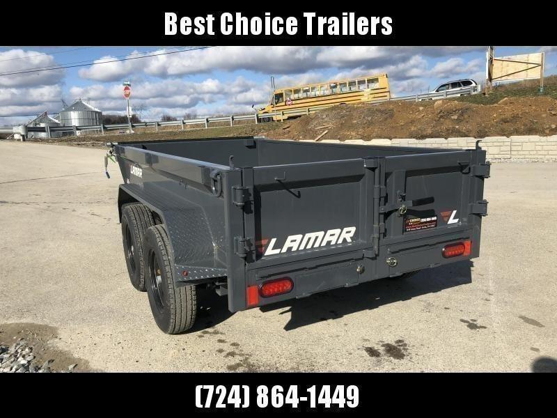 """2021 Lamar 5x10' Deluxe Dump Trailer 7000# GVW * SPREADER GATE * DELUXE TARP KIT * UNDERMOUNT RAMPS * CHARCOAL * ADJUSTABLE COUPLER * RIGID RAILS * 110V CHARGER * DOUBLE CHANNEL FRAME * 10GA FLOOR * POWER UP/DOWN * 4"""" CHANNEL BED FRAME"""