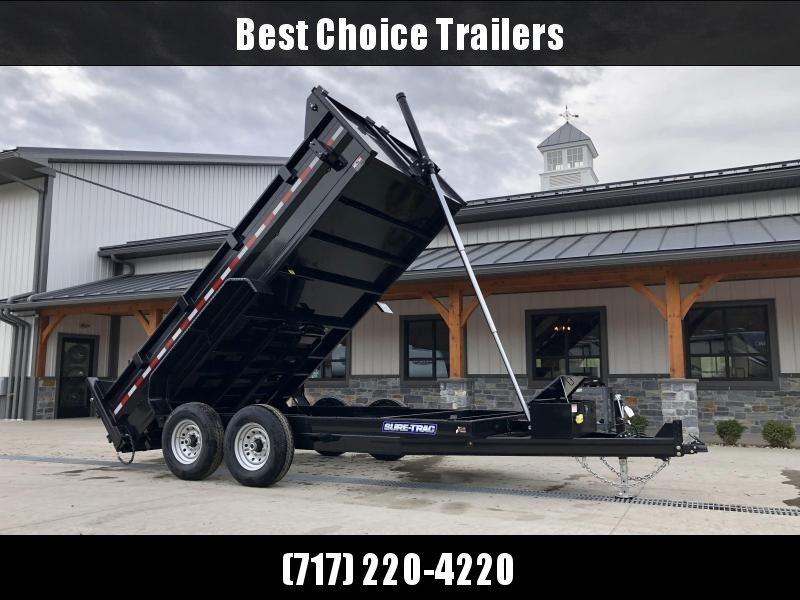 """2021 Sure-Trac 7x16' Dump Trailer 14000# GVW * TARP KIT * OVERSIZE 120"""" TELESCOPIC HOIST * EXTENDED TONGUE * OVERSIZE TOOLBOX * FRONT/REAR BULKHEAD * INTEGRATED KEYWAY * 2' SIDES * UNDERBODY TOOL TRAY * ADJUSTABLE COUPLER * COMBO GATE * CLEARANCE"""
