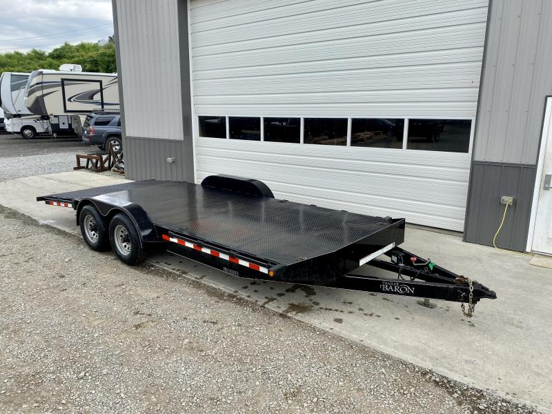 USED 2017 Quality 7x20' Steel Deck Car Hauler 9990# GVW * 4' BEAVERTAIL * LOW LOAD ANGLE * STAKE POCKETS/D-RINGS * REAR SLIDEOUT PUNCH PLATE RAMPS