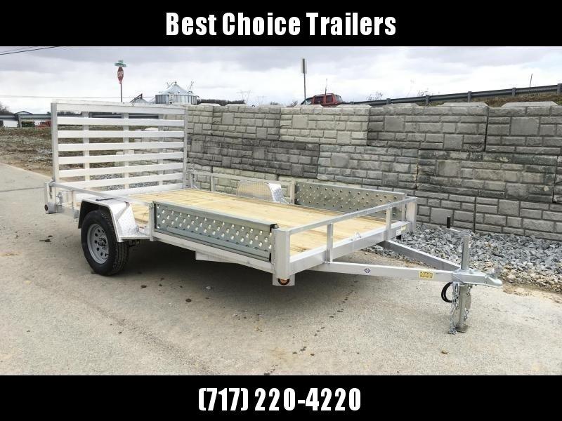 """2021 QSA 7x14' Aluminum ATV Utility Landscape Trailer 2990# GVW * ATV RAMPS * STANDARD MODEL * TUBE FRAME AND TONGUE * SPARE MOUNT * TIE DOWNS * 4' FOLD IN GATE * LED'S * FENDER GUSSETS * 3500# AXLE * 15"""" TIRES * TUBE TOP RAIL"""