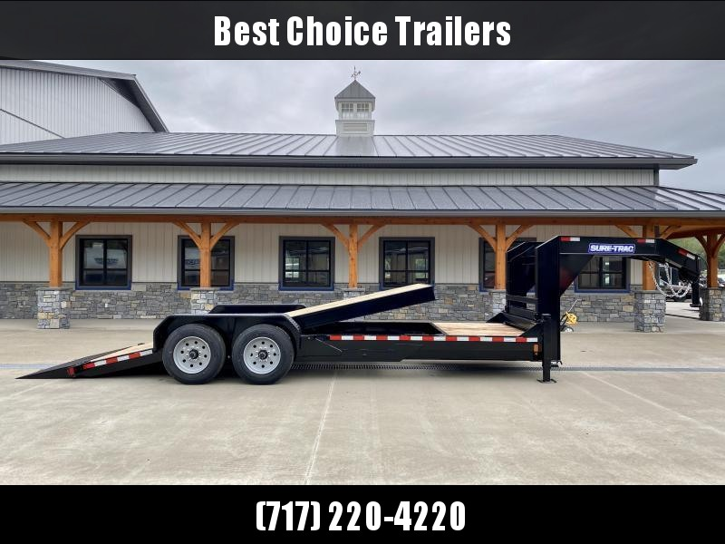 "2021 Sure-Trac 7x22' Gooseneck Power Tilt Equipment Trailer 16000# GVW * 8K AXLE UPGRADE * FULL DECK POWER TILT * TOOLBOX * DUAL HYDRAULIC JACKS * D-RINGS/RUBRAIL/STAKE POCKETS * OAK DECKING * 17.5"" RUBBER"