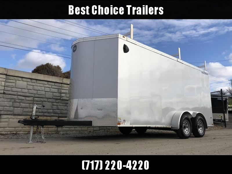 """2020 Wells Cargo 7x16' Road Force Enclosed Contractor Trailer 7000# GVW * WHITE * CONTRACTOR PACKAGE * 3 LADDER RACKS * 3/4"""" WALLS * SCREWLESS .030 EXTERIOR * 1 PC ALUM ROOF * 6'6"""" HEIGHT * TUBE STUDS * RV DOOR * ARMOR GUARD * EXTENDED TRIPLE TUBE TONGUE"""