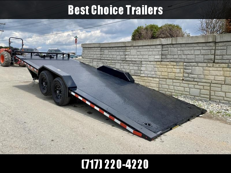 "2021 H&H 102x24' Buggy Hauler Steel Tread Plate Deck Power Tilt Car Trailer 16000# GVW  * 8000# AXLES * 102"" STP DECK * DRIVE OVER FENDERS * WINCH PLATE * DUAL TOOLBOXES * RUBRAIL/STAKE POCKETS/SWIVEL D-RINGS * SPARE TIRE MOUNT * ADJUSTABLE COUPLER * 12K"