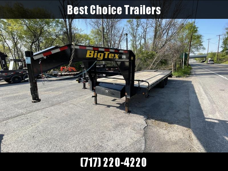 USED 2020 Big Tex 102x25' Gooseneck Deckover Flatbed Trailer 14000# GVW * FULL WIDTH RAMPS * PIERCED FRAME * DEXTER AXLES * SPARE TIRE * DUAL JACKS * TOOLBOX