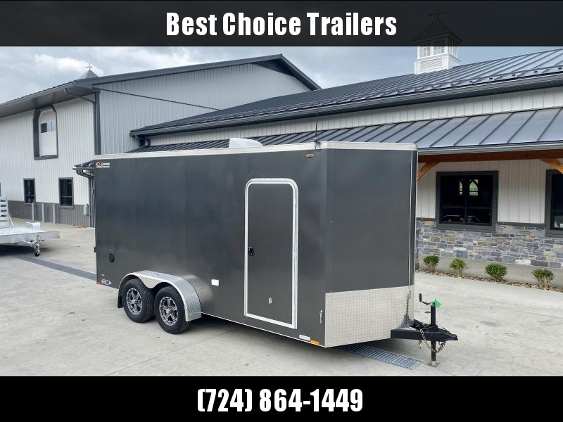 USED 2018 Legend Trailers 7x14' Enclosed Cargo Trailer 7000# GVW * 7' INTERIOR HEIGHT * SCREWLESS EXTERIOR * CHARCOAL * RV DOOR * RAMP DOOR * ALUMINUM WHEELS * DIAMOND PLATE FENDERS * ROCK GUARD * 110V PACKAGE * SPARE TIRE * MURPHY BED * AND MORE!!