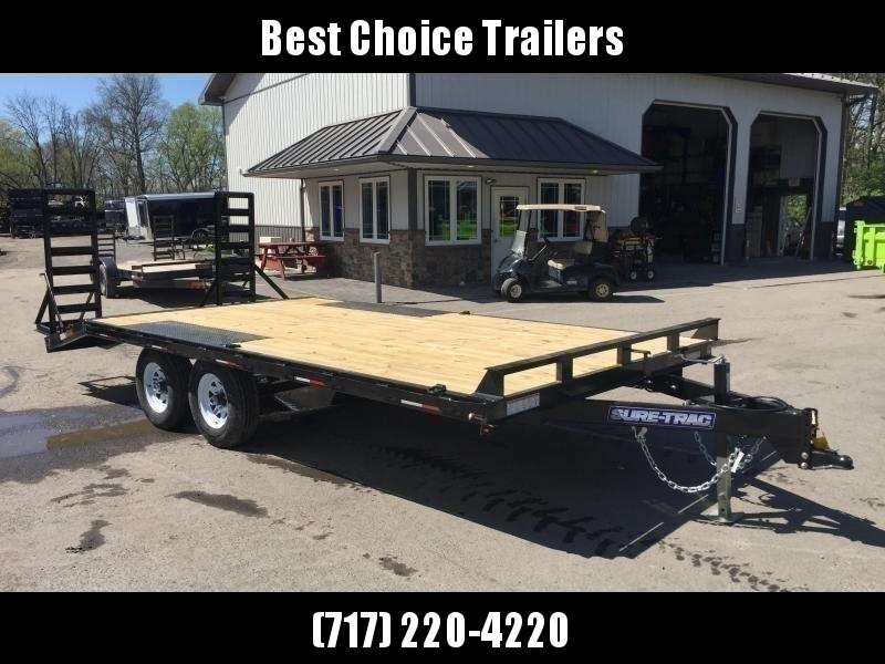 2021 Sure-Trac 102x18 Beavertail Deckover Trailer 9900# GVW * STAND UP DELUXE RAMPS + SPRING ASSIST * TUBE SIDE RAIL + CROSSMEMBERS * RUBRAIL/STAKE POCKETS/D-RINGS * SPARE MOUNT * ADJUSTABLE COUPLER * DROP LEG JACK