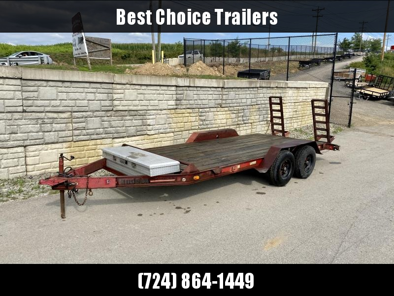 USED Hudson Brothers 6.5x16' Equipment Trailer 9950# GVW * STAND UP RAMPS * D-RINGS * TOOLBOX
