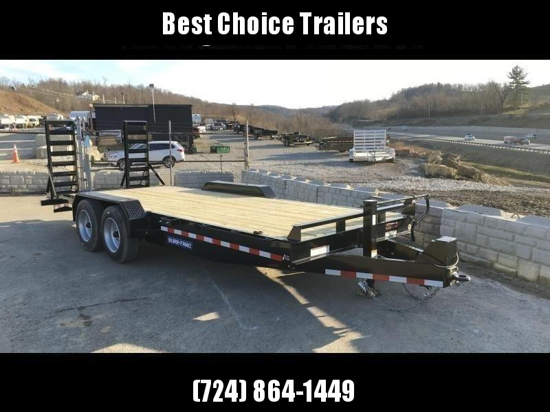 """2021 Sure-Trac 7x16' Equipment Trailer 16000# GVW * 8000# AXLE UPGRADE * HD 4"""" CHANNEL STAND UP RAMPS W/ SPRING ASSIST * 17.5"""" 16-PLY RUBBER * 3 3/8"""" BRAKES * 8"""" TONGUE * HD COUPLER * 12K JACK * RUBRAIL/STAKE POCKETS/D-RINGS * SPARE MOUNT"""