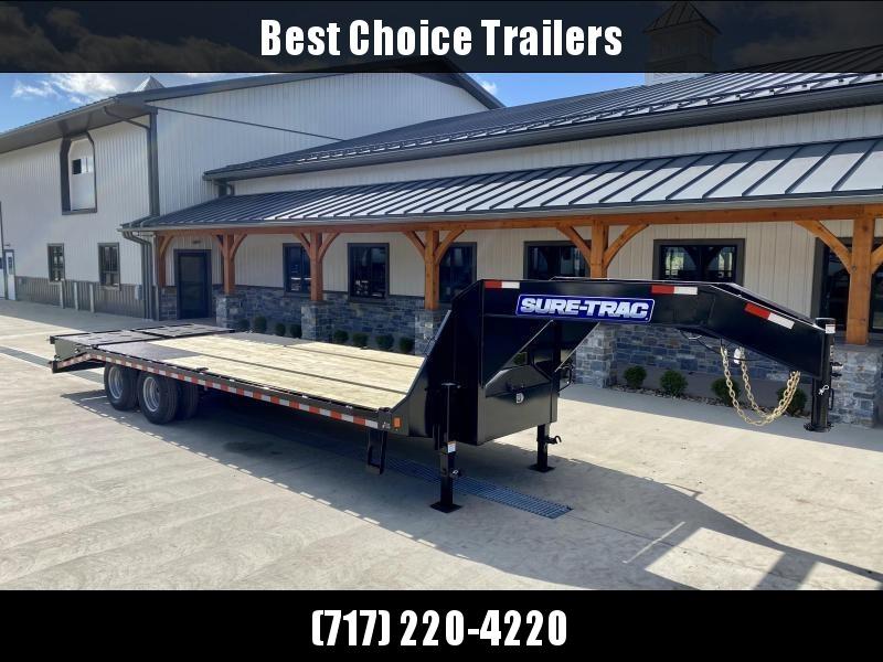 "2021 Sure-Trac 102x25' Gooseneck Beavertail Deckover Trailer 22500# GVW * FULL WIDTH RAMPS (STAND UP OR FLIPOVER) * DEXTER AXLES * 12"" I-BEAM * PIERCED FRAME * RUBRAIL/STAKE POCKETS/PIPE SPOOLS/10 D-RINGS * CROSS TRAC BRACING * HD BEAVERTAIL"